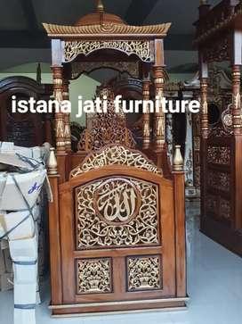 Mimbar khutbah masjid podiuum Mimbar jati