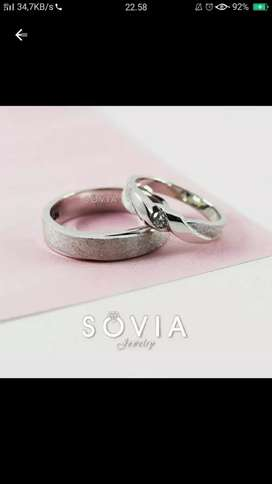 Cincin couple bahan palladium free box ukir nama