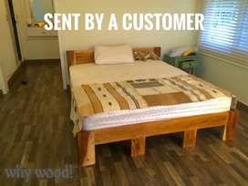 Low profile queen size bed