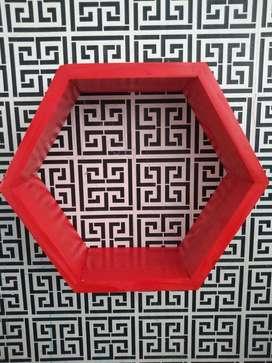Colorful!! Rak Dinding Hexagonal Merah / Diameter 27 Lebar 9.5