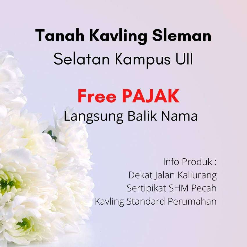 Free BPHTB dan BBN Kavling Kost 3Jt'an Sertipikat Ready Sleman Kaliura