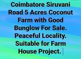 Coimbatore Siruvani Road Acres Coconut Farm with Good Bunglow  sale