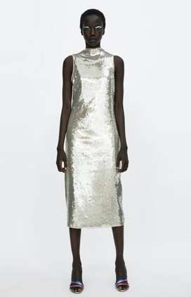Zara Silver Sequin Dress