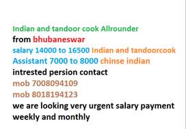 we are looking for indian and tandoor cook with Assistant