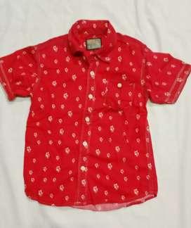 Kemeja anak ZOUK ISLAND katun Size 6 Untuk 4-6 tahun Merah