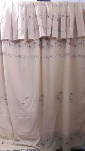 one piece window emb curtain with emb palmet