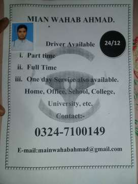 Driver for good family in Faisalabad or Lahore or Islamabad.