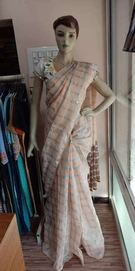Linen cotton with silver line saree
