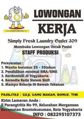 Lowongan Staff Produksi Laundry