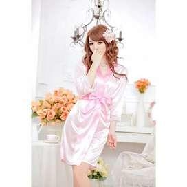 Baju Tidur Lengan Panjang Pink Lembut Halus Seksi Lingerie Kimono