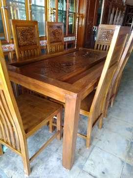 meja makan kursi 6 jati jepara