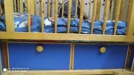 Wooden Cot with swing(Jhula) for Infants plus storage capacity