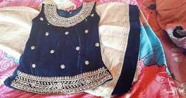 Royal blue velvet lacha