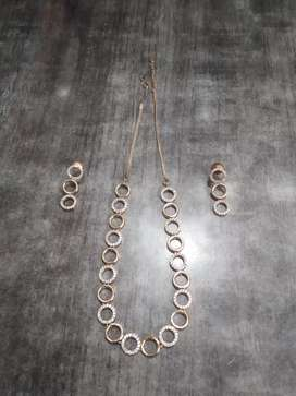 Necklace and earrings set ( Brand new rosegold A.D. Necklace set )