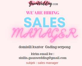 Sales Manager untuk wedding shop