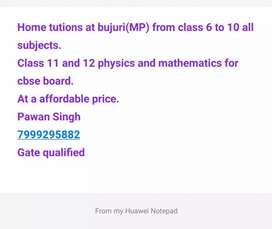 Home tutor available from class 6 to class 12(PCM)