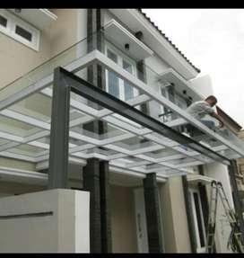 Kanopi kaca,solarflat,alderon,polycarbonate,spandek,stainles steel dll