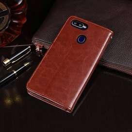 Flip Wallet Kulit Leather Dompet Cover Case Card Kartu Oppo A7
