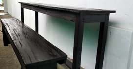 School wood desk and benches