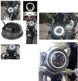 "Bike LED Headlights 5.75 inch Ring Angel Eyes 5.75"" Harley Style"