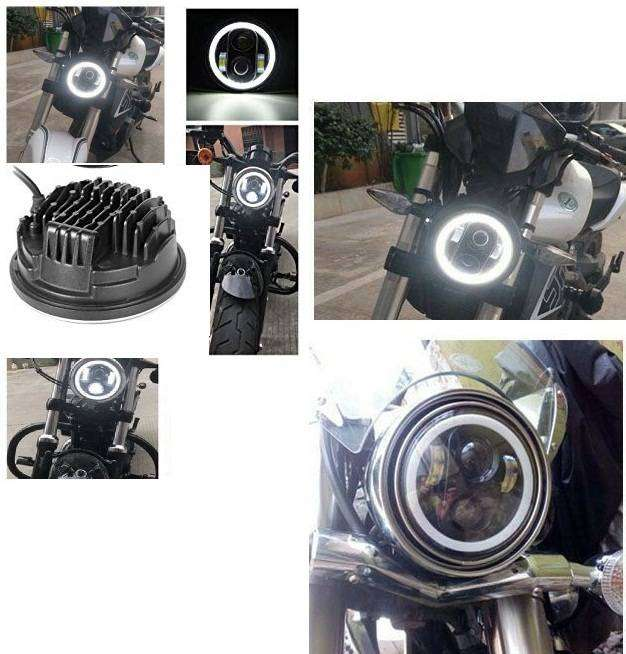"Bike LED Headlights 5.75 inch Ring Angel Eyes 5.75"" Harley Style 0"