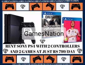 RENT PS4 WITH 2 CONTROLLERS AND 2 GAMES @ 699 /-
