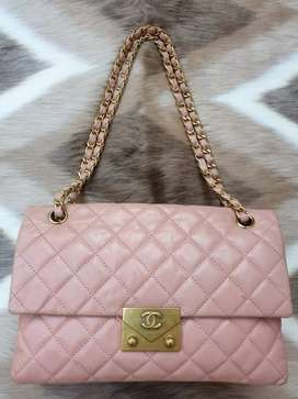 Tas import eks CHANEL made in Italy kulit asli tebal pink/peach