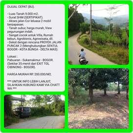 Tanah SHM 9.002 m2 murah View indah, 35 menit dr TOL CIBINONG-BOGOR.