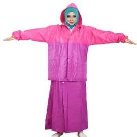 Jas Hujan Rok Valencia Bentuk Setelan utk Perempuan Wanita Muslimah