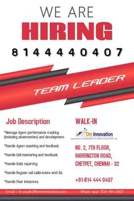 Team Leader: Immediate Opening