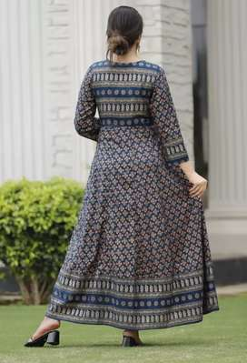 Printed full Flaired long kurti with handwork