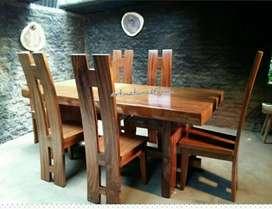 Meja kursi makan trembesi cafe