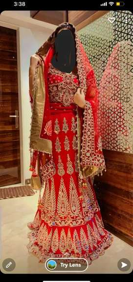 Wedding dress in red color just used once purchase for Rs 85000/-