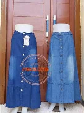 Rok jeans model button