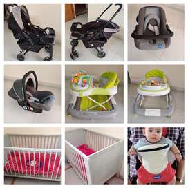 Baby cot, pram,Walker, car seat and baby carrier