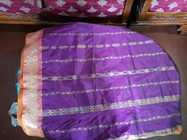 NEW KANJORA SAREE ONLY 2DAYS USED IRONED AND CLEANED ARGENT