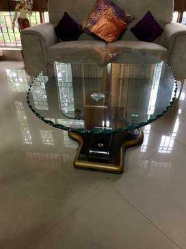 Teak wood Centre table with glass top
