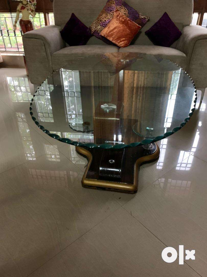 Teak wood Centre table with glass top 0