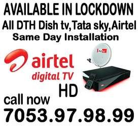 New Airtel DTH Dishtv Tatasky Airtelhd Dish tv tata sky SD&HD