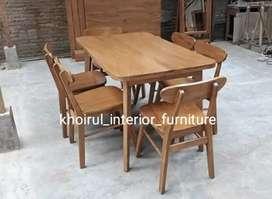 Meja makan minimalis modern ful kayu jati bagus .