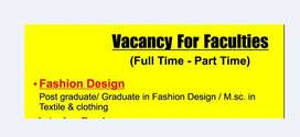 Opening For Fashion Designer Faculty Parttime