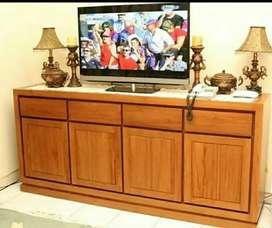 Bufet jati meja tv finishing melamic