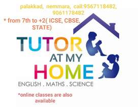 Tuition classes at your home,classes from 7th to +2(cbse, icse, state)