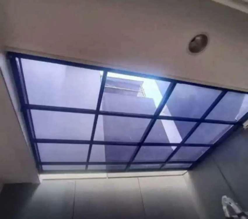 Kanopi carfort teras rumah atap transparan solarflat, akrylic dan kaca