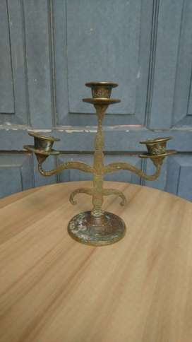 Tempat Lilin Kuningan Antik Candle Holder Kuno