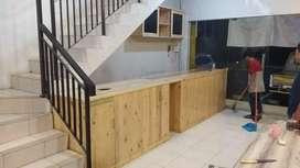Meja bar cafe set ruang design kayu jati belanda