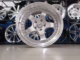 jual hsr wheel brisket bring 18x8,5/9,5 h5(114,3) silver polish