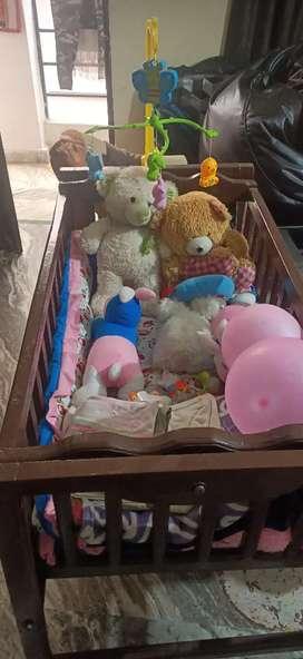 Baby wooden cot/ Jhoola with mattress