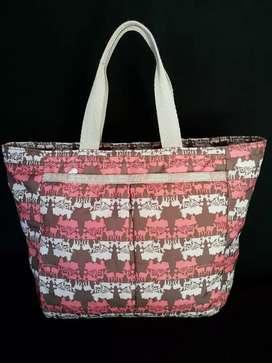 Tas import eks lesportsac handbag motif forest n fauna orange abu2