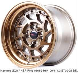 jual velg model NAMROLE JD217 HSR R16X8/9 H8X100-114,3 ET30/25 BRZ/MFL